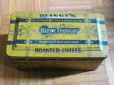 Vintage Blanke's Happy Thought Coffee  Tin, . Blanke Tea & Coffee Co St Louis