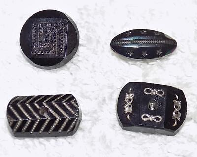 """Lot of 4 Antique Black Glass Buttons Gold Trim 3/4"""" 5/8"""" OO"""