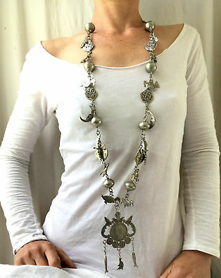 Long Mayan Chachal Silver Ceremonial Necklace. Guatemalan.