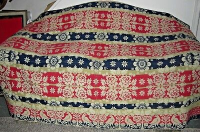 Antique Hand Loomed Coverlet Roses Birds Reversible Signed Dated 1842 J Witmer