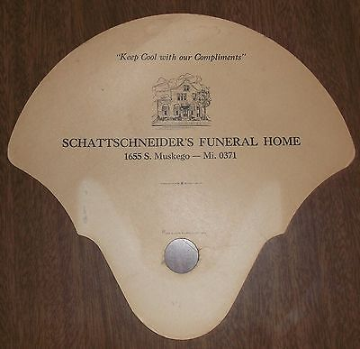 Vintage Advertising Hand Fan - Schattschneiders Funeral Home Muskego Wisconsin