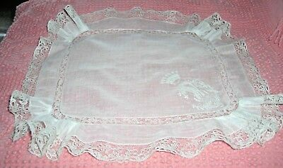 """Exquisite! Antique Count's Crown Embroidered Lace Wedding Hankie 12.5"""" Square"""