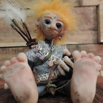 daughter of the Garden Forest gnomes. poseable handmade ooak