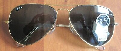 NEW BAUSCH & LOMB RAY-BAN AVIATORS Gold Frame, Dark Green Lens, Made in USA
