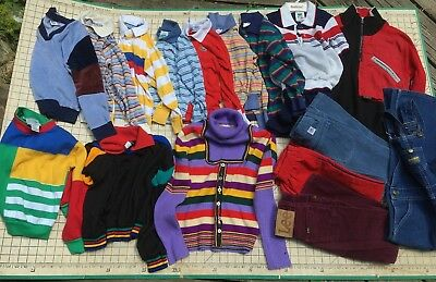 Lot 16 Vintage Boys Girls Outfits Shirt Sweater Pants Overall Sweatshirt Sz 7-16