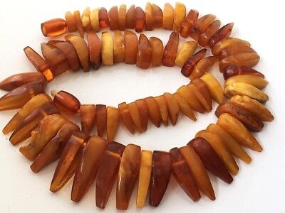 RARE! Natural Antique Baltic Vintage Amber OLD BUTTERSCOTCH YOLK BEADS Necklace