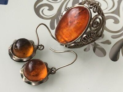 Antique Amber Natural Old Butterscotch Baltic Amber Ring, Earrings 9.17gr