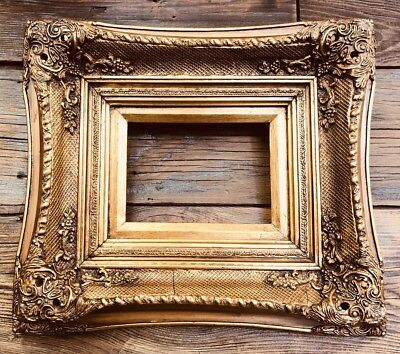 Gold Gilt Rococo Style Picture Painting Frame Ornate Wood Fine Art Figural