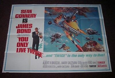 """  You Only Live Twice "" Super Rare Large Size Original James Bond Movie Poster"