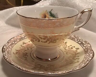 Yellow Sculpted Royal Standard Flowers Tea Cup and Saucer Set Elegant