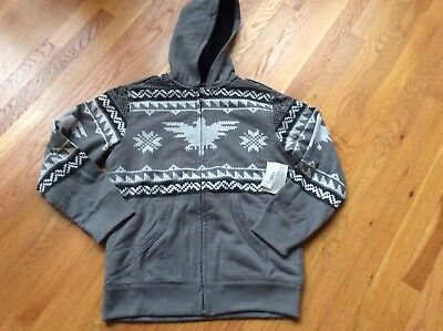Nwt Boys Canyon River Blues Hooded Patterned W/Sherpa Lining Size 14/16 Grey