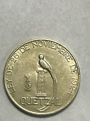 "1925 1/2 Quetzal Guatemala "" With Nobles"" Silver"