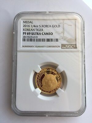 2016 South Korea 1/4 oz Gold Korean Tiger BU Medal NGC PF69 Box & COA - KOMSCO