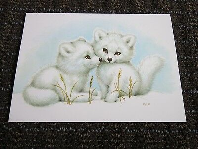 White Wolf Collectible Card Blank Note Snow Babies Bill Morehead Cubs Vtg UNUSED