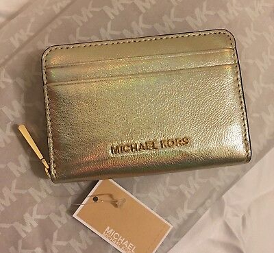 77cdee2daf238 Michael Kors Leather Wallet Iridescent Pale Gold Jet Set Card Holder New w   Tags