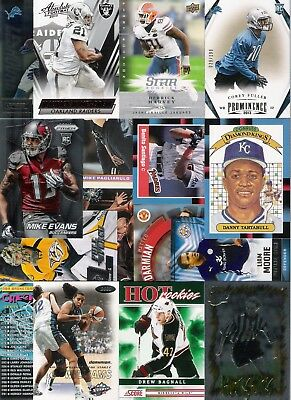 40 Card Lot Of Sports Cards Inserts Rookies Parallel Nfl Mlb Nhl Bball Soccer