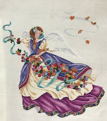 Preworked Cross Stitch Ethereal Fairy Flowing Dress Floral Needlepoint Pixie
