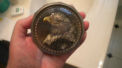 Meadow Mountain Designs EAGLE PAPERWEIGHT CHARLES HILL GOLD LEAF Pewter CRYSTAL