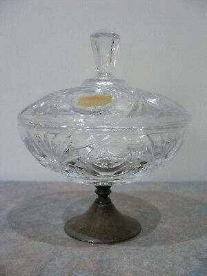 Vintage Germany Bleikristall Crystal Bon Bon Dish With Metal Foot, Sticker - VGC