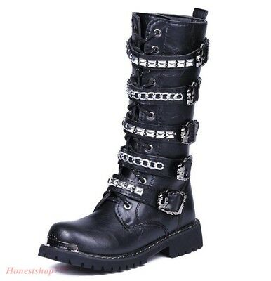 Buckle Mens Gothic Chain Round Toe Zip Knee High Combat Punk Rock Boots Shoe New