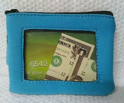 Blue & Black Zippered Floating Wallet Clear Id Window W/ Key Chain Ring & D Ring