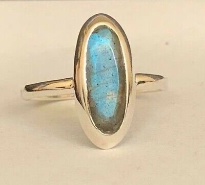 925 Sterling Silver Labradorite Oval Ring Gemstone Stack Stackable Size 8 9 10