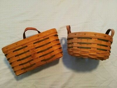 Longaberger Baskets Lot Of Two Signed 1997 2001  As-Is
