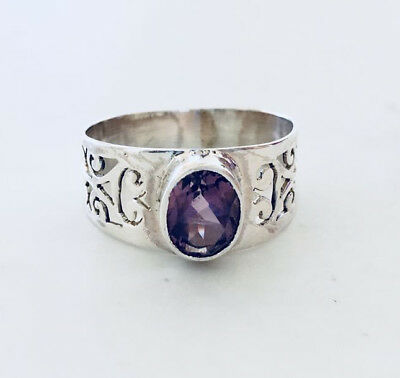 925 Sterling Silver Amethyst Ring Oval Gemstone Filigree Wide Band US Size 6 7 8