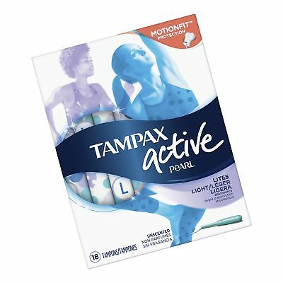 Tampax Pearl Active Plastic Tampons, Lites/Light Absorbency, Unscented, 18 Co...