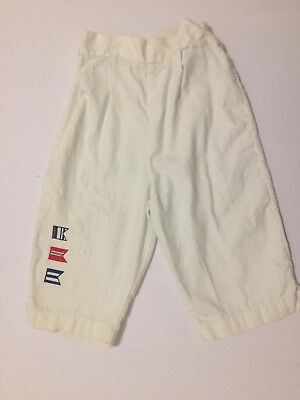 Vintage 1950s Girls White Cotton Pants with Printed Red & Blue Nautical Flags