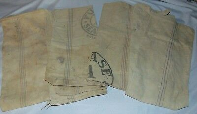 Lot of 4 Antique Fulton & Chase Seamless Extra Heavy Feed Sacks FAIR Condition