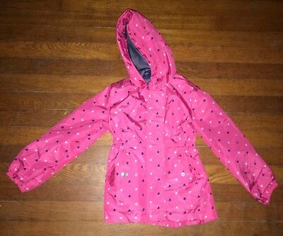 Pink Platinum Little Girls Raincoat Pink with Hearts EUC Size 5-6 EUC