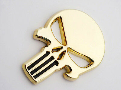 Gold Skull Emblem 3D Badge Stikcer Tank Fairing for Harley Suzuki KTM Honda MT