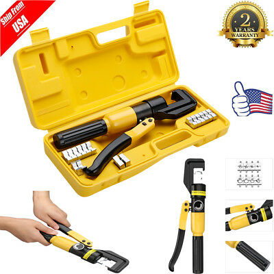 10Ton Hydraulic Wire Terminal Crimper Battery Cable Lug Crimping Tool 8Dies+Case