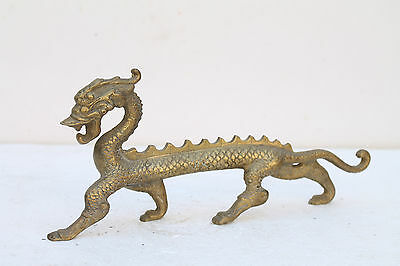 Vintage Old Hand Crafted Brass Long Flat Dragon Face Animal Figure Statue NH1990