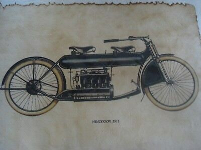 HENDERSON Motorbike 1911    Hand coloured print on hand made paper