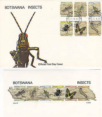 Botswana Insects-First Day Cover Plus Six Unused Stamps