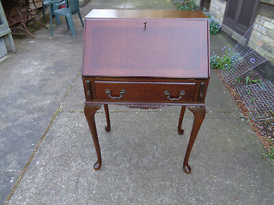 Mahogany And Burr Elm Queen Anne Style  Small Bureau