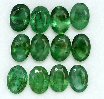 Certified Natural Emerald Oval Cut 7x5 mm Lot 14 Pcs 9.11 Cts Loose Gemstones