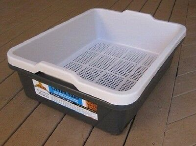 Oz Pet Cat Kitten wood Litter Sieve Tray - Charcoal And White