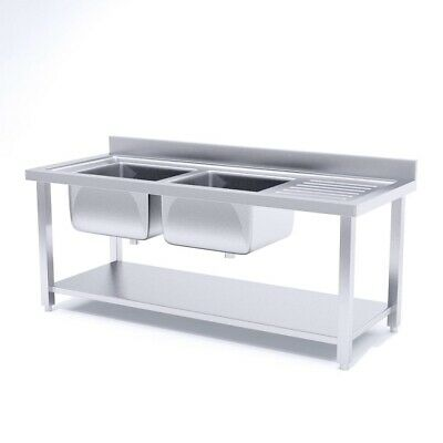 SOGA Commercial Kitchen Double Sink Work Bench Stainless Steel Food Prep