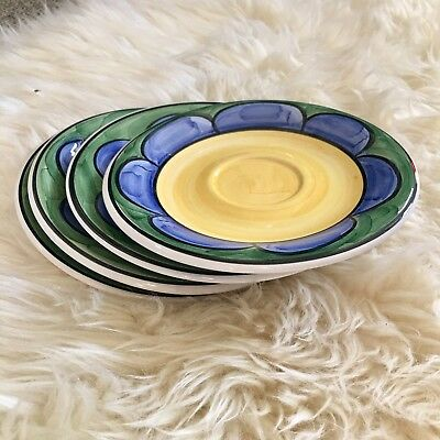 Living Art Alegria floral plates dessert small hand painted green blue yellow