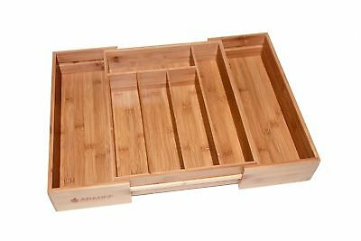 Large 3 inch Deep Expandable Bamboo Wood Cutlery Tray Drawer Utensil Organizer
