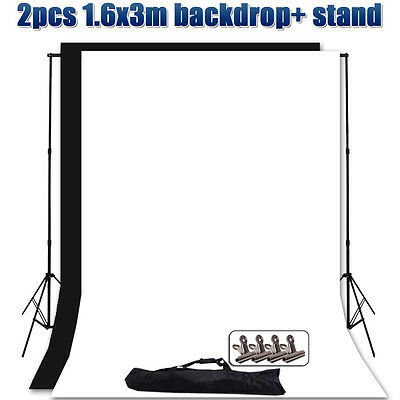 Photography Black White Backdrop Studio Video Light Background Support Stand Kit