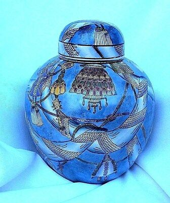 Large Ginger Jar with Lid--Vintage--Blue, Lavender, Yellow, White, Green-Chinese