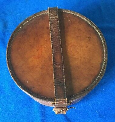 Vintage Antique Shirt Collar Tan Leather Box Holder