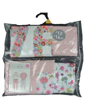 Ex F & F Girls Mix & Match Pink Flower Floral 2 Pack Snuggle Pyjamas 5 6 7 8 9