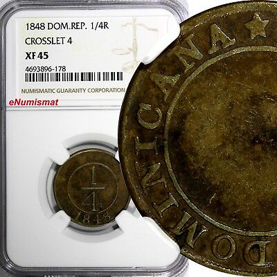 """Dominican Republic Brass 1848 1/4 Real CROSSLET """"4"""" NGC  XF45 KM# 2"""
