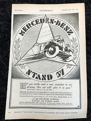 VERY RARE 1929 MERCEDES-BENZ (Olympia) Old Vintage Car Advert L17