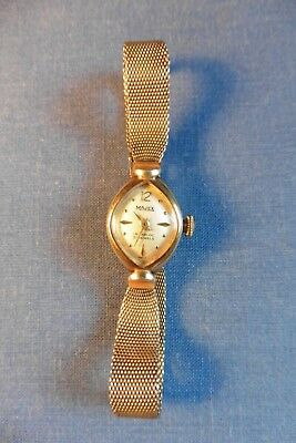 Vintage Ladies Majex 21 Jewels Swiss Made 9c Gold Wristwatch & Bracelet working